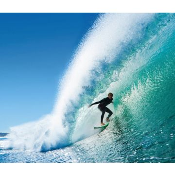 wall mural surfer blue and sea green