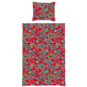 single duvetcover set funky flowers and paisleys red