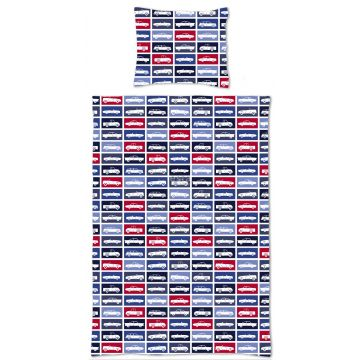 single duvetcover set cars red and navy blue
