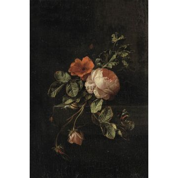 wall mural still life of flowers dark red and black
