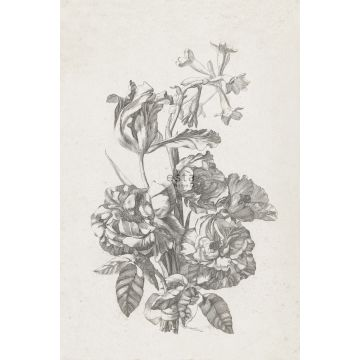 wall mural still life of flowers black and white