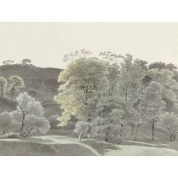 wall mural wooded landscape mint green