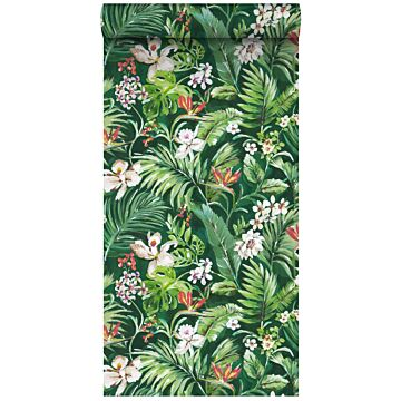 non-woven wallpaper XXL tropical leaves and flowers emerald green