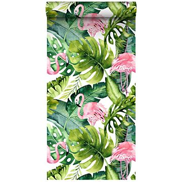non-woven wallpaper XXL tropical leaves with flamingos green and pink