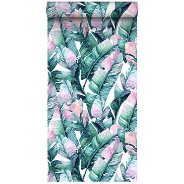 non-woven wallpaper XXL banana leaves turquoise and pink
