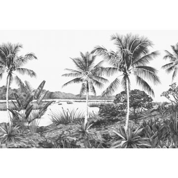 wall mural tropical landscape with palm trees black and white