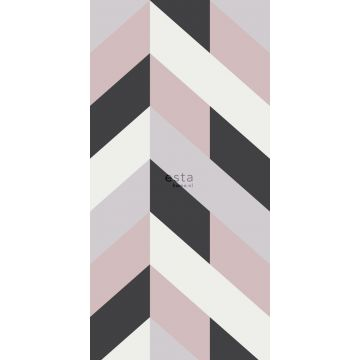 wall mural herring bone pattern black, white and antique pink