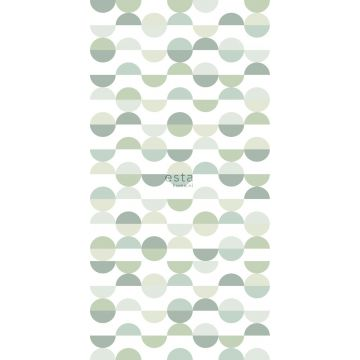 wall mural semicircles in retro style green