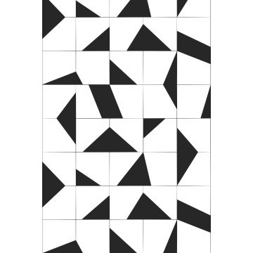 wall mural tile motif black and white