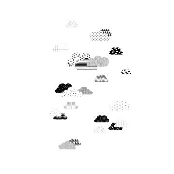 wall mural clouds black and white