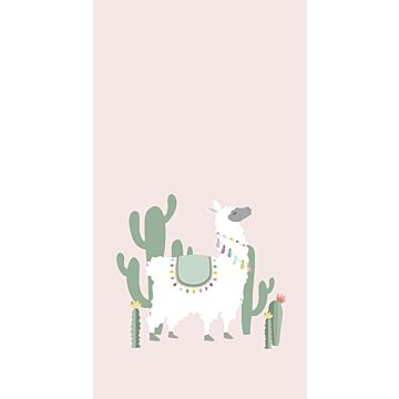 wall mural alpaca soft pink and green