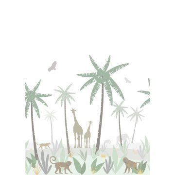 wall mural jungle animals green, gray and brown
