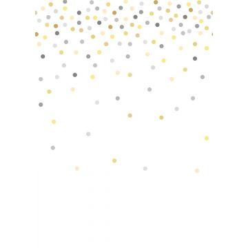 wall mural confetti dots yellow and gray