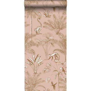 non-woven wallpaper XXL jungle peach pink