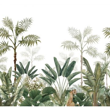 wall mural jungle white and gray-grained olive green