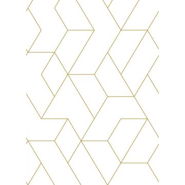 wall mural graphic lines white and gold