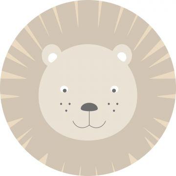 self-adhesive round wall mural animal heads beige