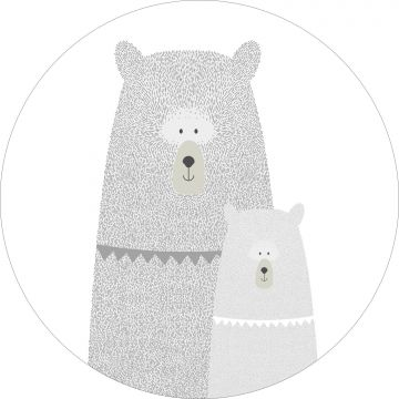 self-adhesive round wall mural bears mother and child light gray