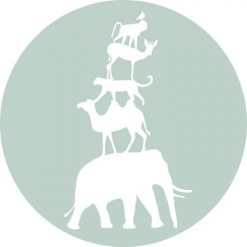 self-adhesive round wall mural stacked animals mint green and white