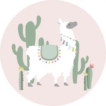 self-adhesive round wall mural alpaca pink and green
