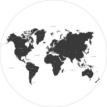 self-adhesive round wall mural world map black