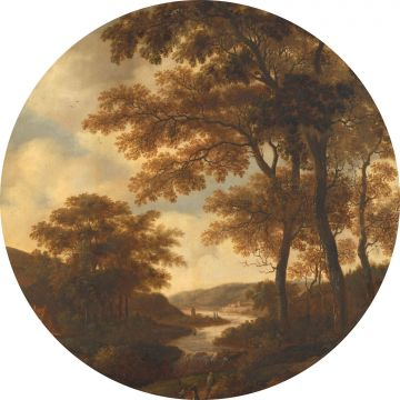 self-adhesive round wall mural wooded landscape orange