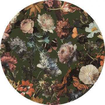 self-adhesive round wall mural flowers greyed olive green
