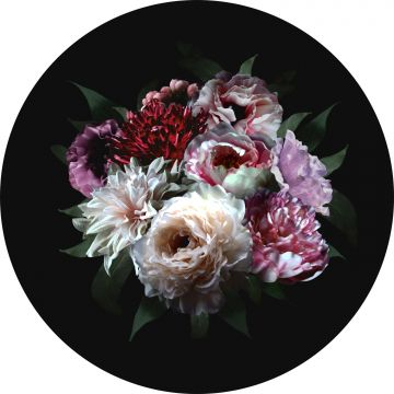self-adhesive round wall mural still life of flowers multi color and black