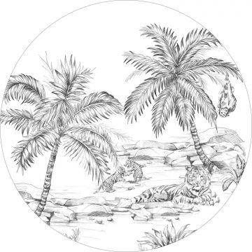 self-adhesive round wall mural pen drawn safari black and white