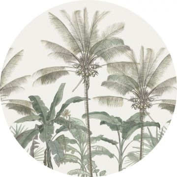 self-adhesive round wall mural palm trees light beige and grayish green