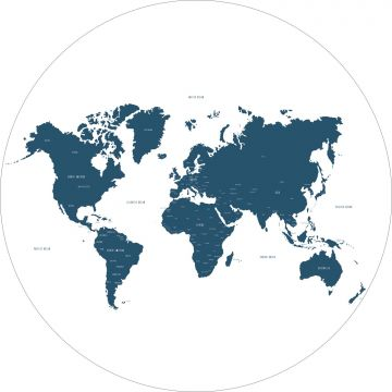 self-adhesive round wall mural world map blue