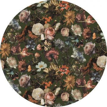 self-adhesive round wall mural flowers gray-grained olive green
