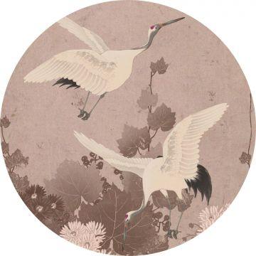 self-adhesive round wall mural crane birds gray pink