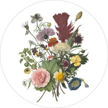 self-adhesive round wall mural bouquet green, pink and yellow