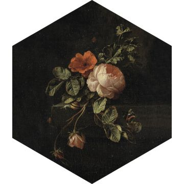 wall sticker still life of flowers black, green and pink