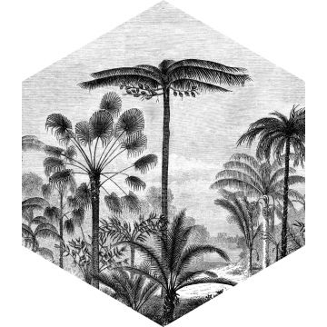wall sticker tropical landscape with palm trees black and white