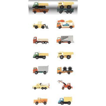 non-woven wallpaper XXL trucks and tractors yellow, orange and blue