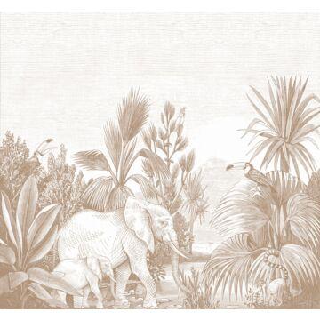 wall mural jungle terracotta