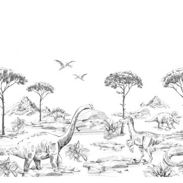wall mural dinosaurs black and white