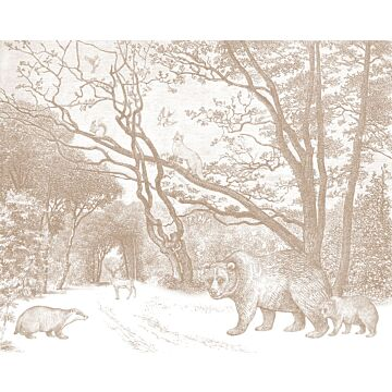 wall mural forest with forest animals terracotta