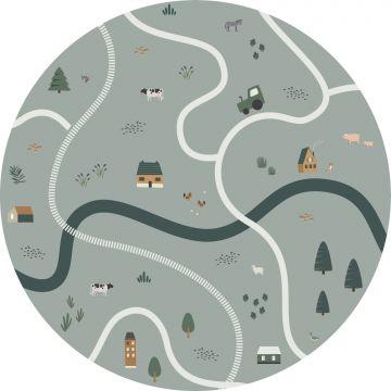 self-adhesive round wall mural tractors and farm animals grayish green