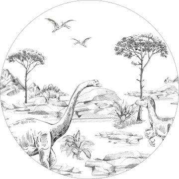 self-adhesive round wall mural dinosaurs black and white