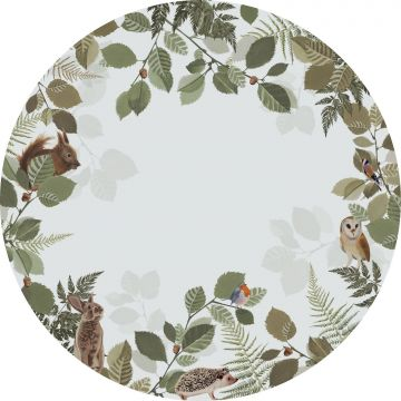 self-adhesive round wall mural forest animals green and brown