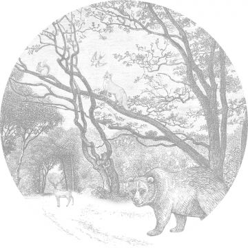 self-adhesive round wall mural forest with forest animals gray