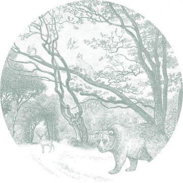 self-adhesive round wall mural forest with forest animals green