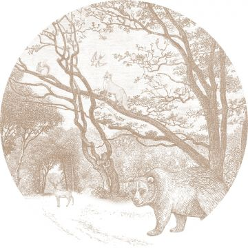 self-adhesive round wall mural forest with forest animals cervine