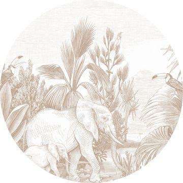 self-adhesive round wall mural jungle cervine