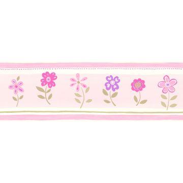 self-adhesive wallpaper border flowers light pink