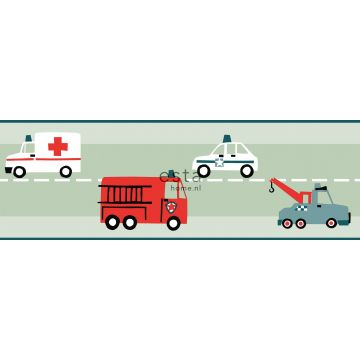 self-adhesive wallpaper border cars, fire trucks, helicopters and cranes mint green