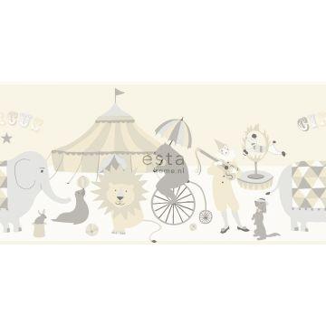 self-adhesive wallpaper border circus light gray, beige and shiny white
